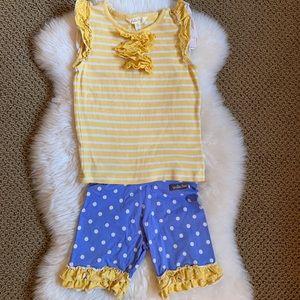 Matilda Jane shorts outfit blue & yellow size 6